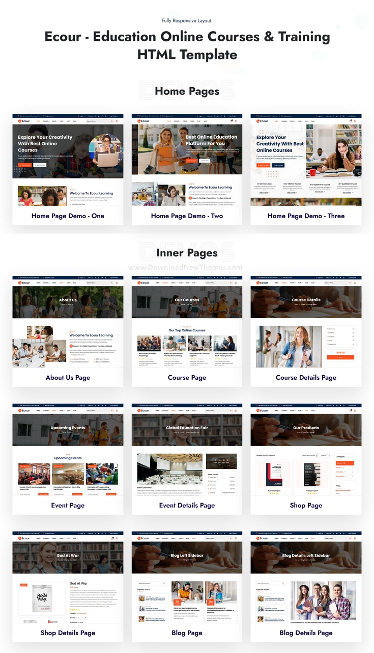 Education Courses & Training Bootstrap Template