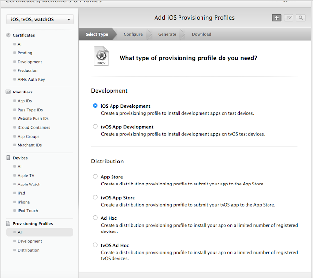 Select what typwe of provisioning profile you need