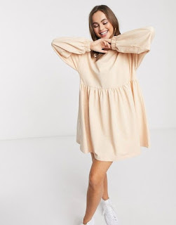 ASOS DESIGN smock mini sweat dress with long sleeve in camel