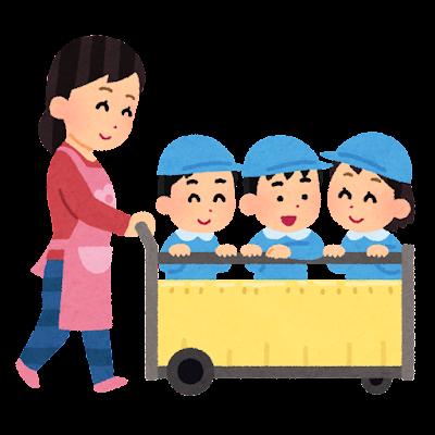 幼稚園の散歩のイラスト(カート)