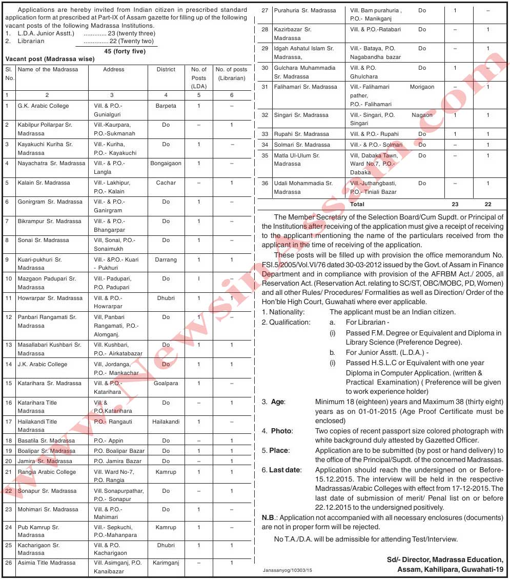 Madrassa Education invited posts of L.D.A. and Librarian