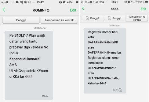 Cara Registrasi Ulang Kartu Lewat SMS \/ Daftar Online  All Operator
