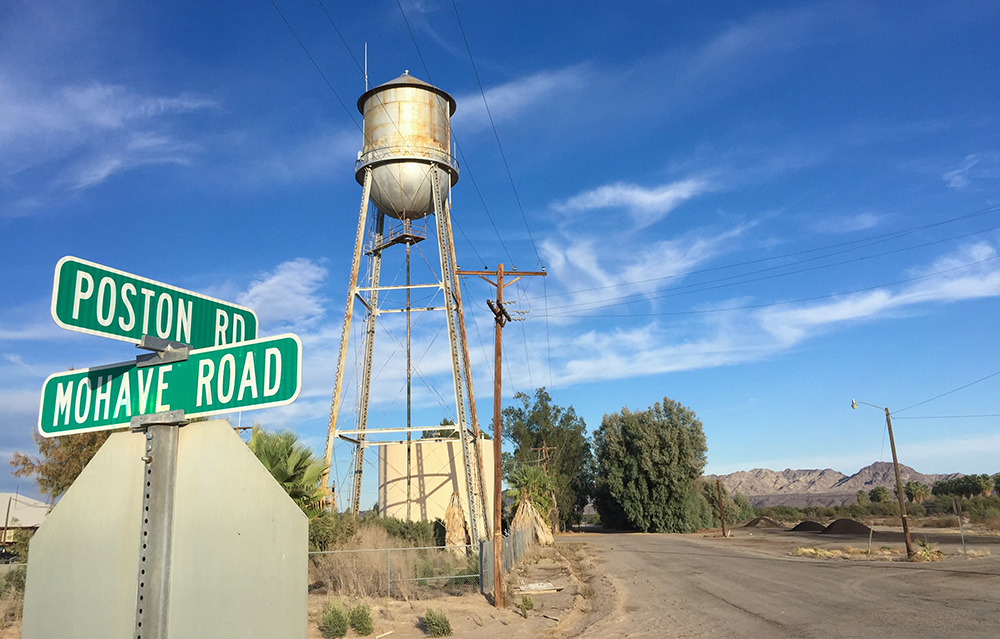 Poston Road and Mohave Road near Parker Arizona water tower abandoned
