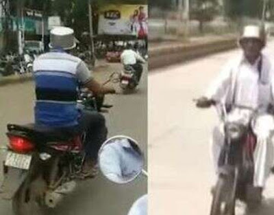 गुजरात (Gujarat) के राजकोट शहर (Rajkot City) में नए मोटर व्हीकल एक्ट (New Motor Vehicle Act) के विरोध में लोग सिर पर हेलमेट की बजाय बर्तन पहनकर बाइक पर निकले.