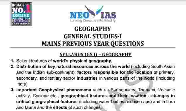 Geography General Studies 1 Mains Previous Year Question