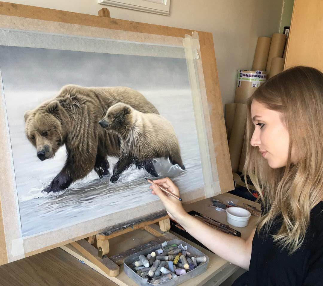 03-Mother-Bear-and-Cub-Danielle-Fisher-Realistic-Animal-Portrait-Pastel-Drawings-www-designstack-co