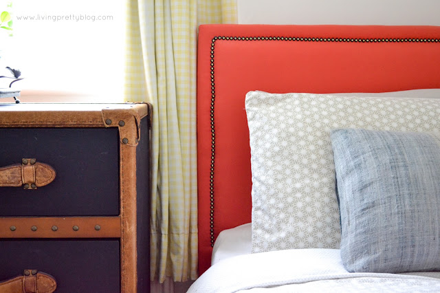 Bedding & DIY Upholstered Bed - Blue Red Mint Kids Room - Shared Kids Room Reveal - One Room Challenge