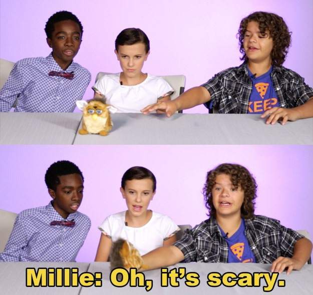Millie Bobby Brown (Once), Caleb McLaughin (Lucas) y Gaten Matarazzo (el carismático Dustin) de 'Stranger Things'