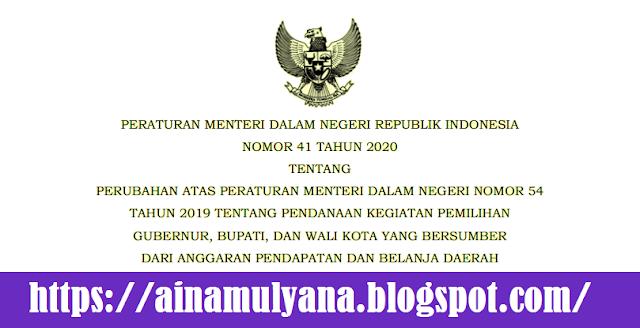 Tentang Perubahan Atas Permendagri Nomor  PERMENDAGRI NOMOR 41 TAHUN 2020