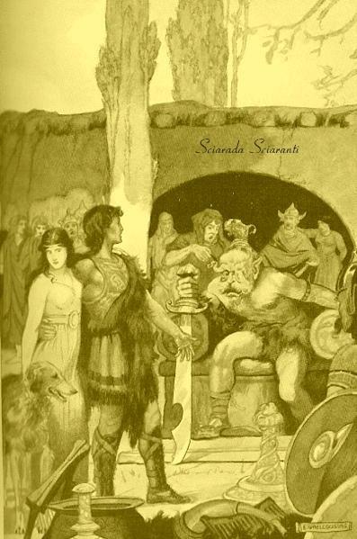 Kilhwch e Olwen con Ysbadadden Penkawr -  E. Wallcousins in Miti e Leggende Celtiche - Charles Squire - 1910