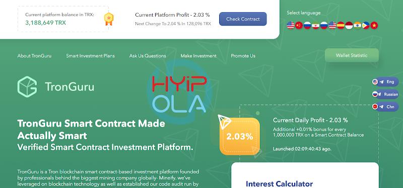 [SCAM] Review Tronguru - Dự án Smart Contract TRON - Lãi từ 2% hằng ngày