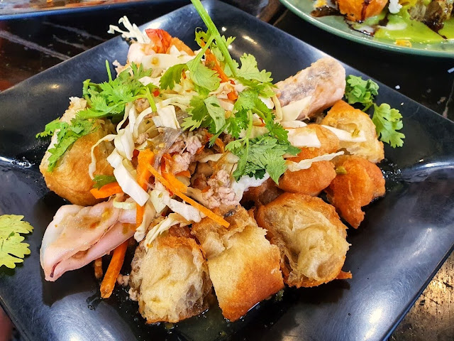 fusion pa tong go with a spicy Thai fish salad