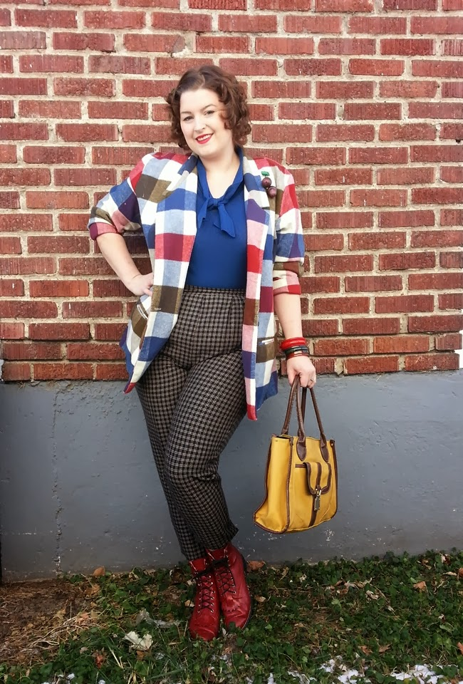 va voom vintage vintage autumn outfit with plaid jacket, bakelite bracelets, mustard handbag and red leather boots