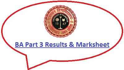 Rajasthan University BA 3rd Year Result 2021