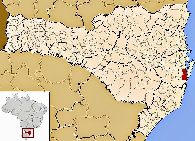 Cidade de Palhoça, no mapa de Santa Catarina