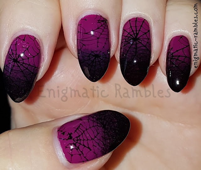 Stamped-Gradient-Spider-Web Nails-Nail-Art