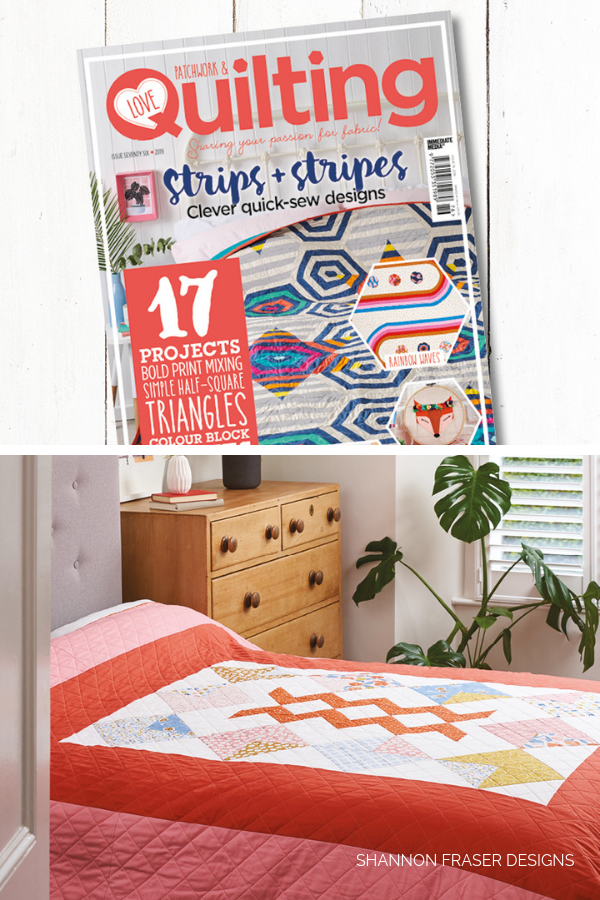 Harvest Falls quilt featured in Love Patchwork & Quilting Magazine | Shannon Fraser Designs #interiordesign #homedecor #quilts
