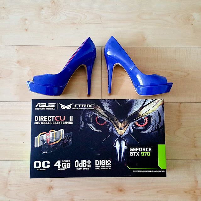 Blue high heels and ASUS GeFore GTX 970 video graphics card