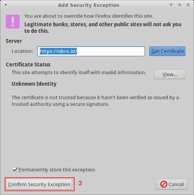Coba akses server dengan menambahkan https://sibro.id akan muncul seperti ini