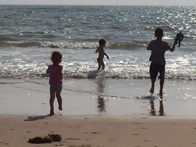 View of autistic children on a beach