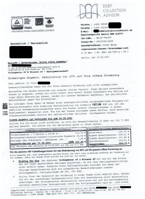 Scan: Forderung Debt Collection Advisor / Aug 2021