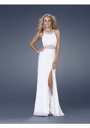 Sheath/Column Scoop Chiffon Prom Dresses #USALF291