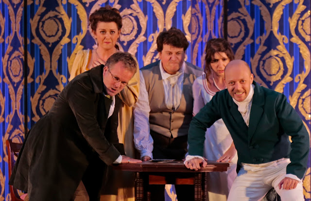 Saleri: La scuola de' gelosi - Matthew Sprange, Rhiannon Llewellyn, Alessandro Fisher, Nathalie Chalkey, Thomas Herford - Bampton Classical Opera (Photo Anthony Hall/Bampton Classical Opera)