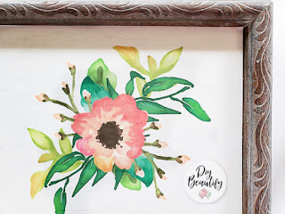 thrifted frame with spring flowers