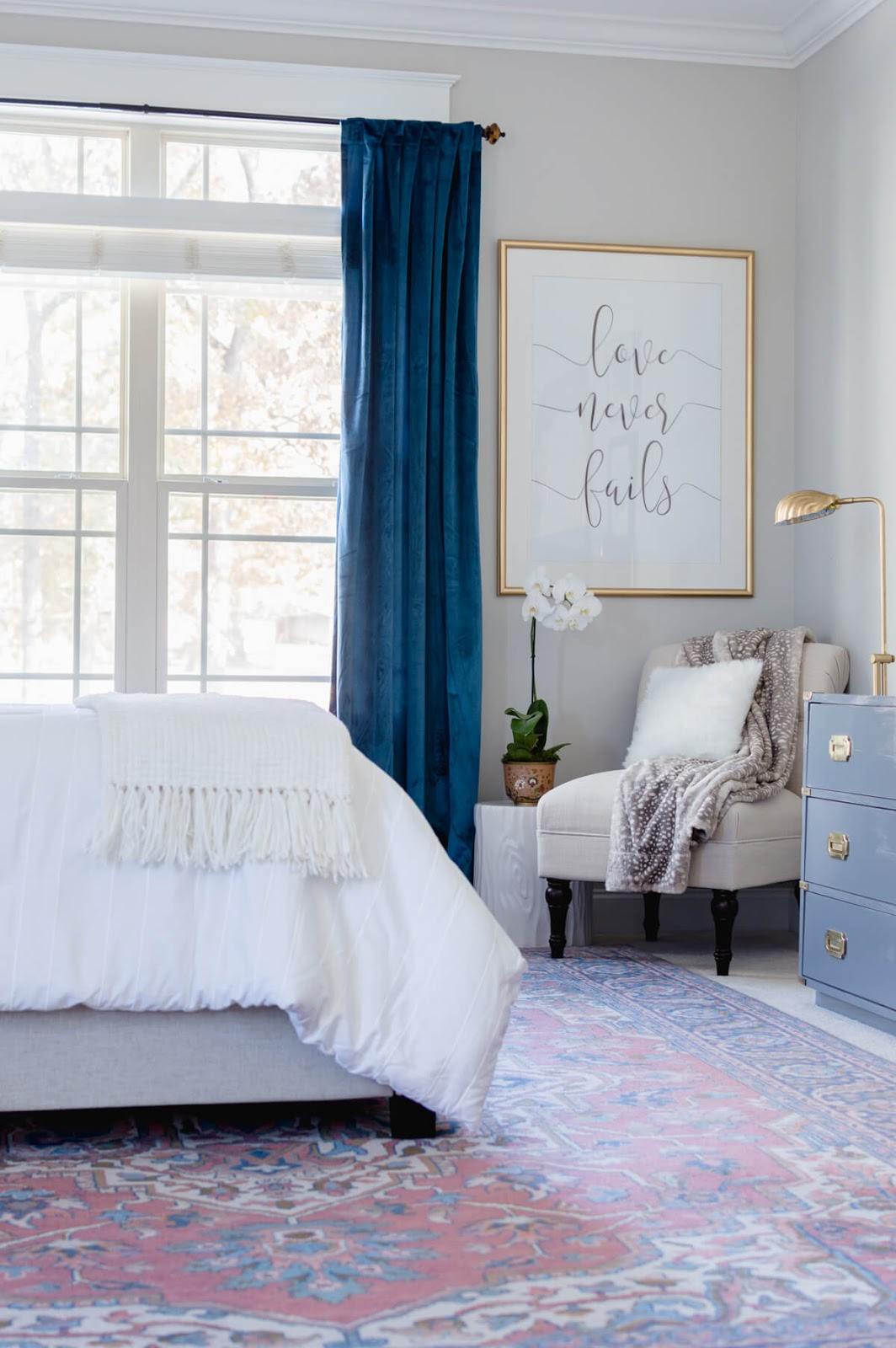 soothing master bedroom with pinks and blues