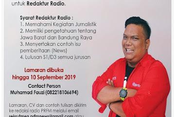 Lowongan Kerja Karyawan Redaktur Radio PRFM Bandung