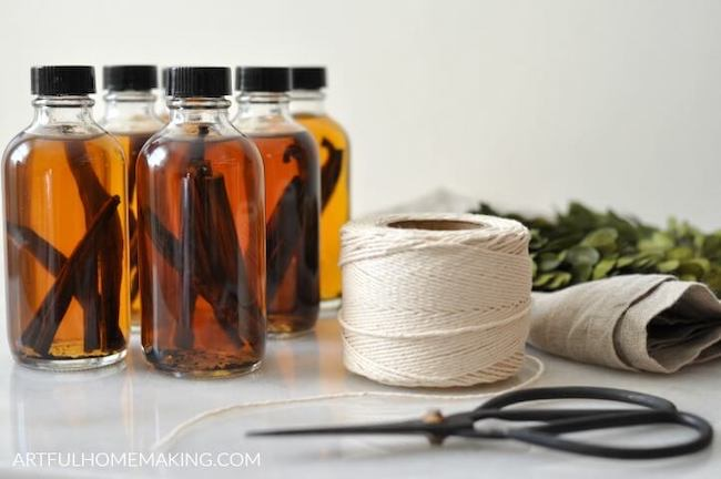Homemade Vanilla Extract for Gifts at Artful Homemaking featured on Pieced Pastimes