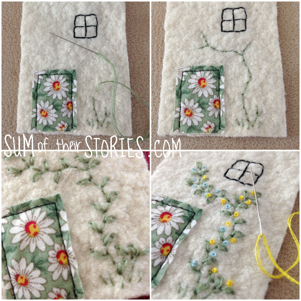 embroidery on a felt house lavender bags