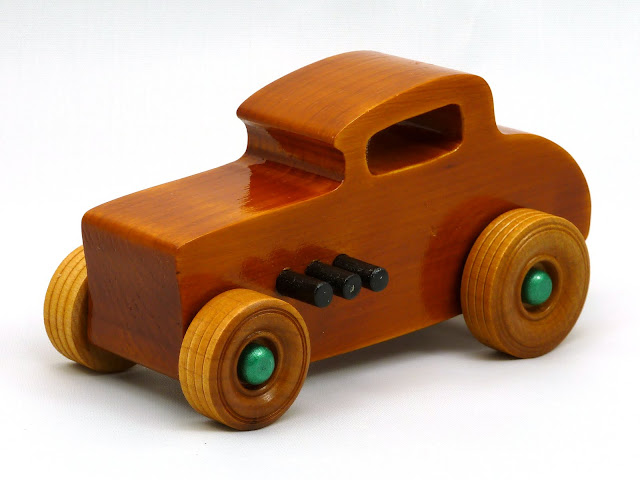 Left Side Front - Wooden Toy Car - Hot Rod Freaky Ford - 32 Deuce Coupe - Pine - Amber Shellac - Metallic Green