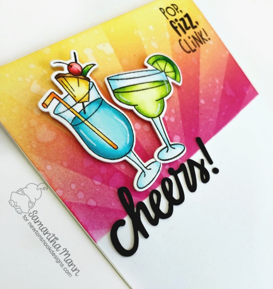 Pop, Fizz, Clink Card by Samantha Mann | Cocktail Mixer Stamp Set and Sunscape Stencil by Newton's Nook Designs #newtonsnook #handmade