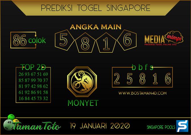 Prediksi Togel SINGAPORE TAMAN TOTO 19 JANUARI 2020