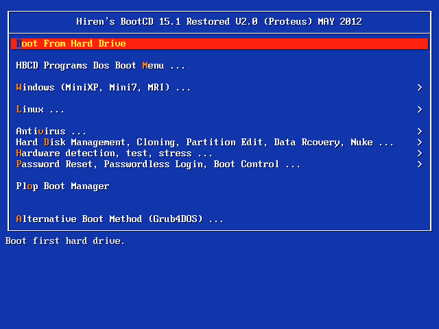 hiren boot cd 15.1
