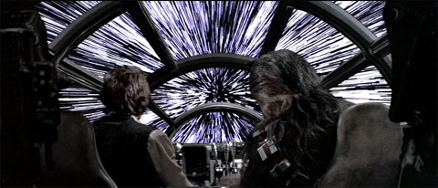 Co-Pilots Han-Solo and Chewbacca in the Millennium Falcon - going int hyper-drive with stars all around them. Representing the Xbox One feature Co-Pilot to make gaming more accessible.