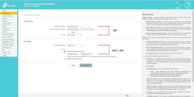 Masukan password wifi yang ingin dikoneksikan dan buat jaringan wifi (ssid) lokal