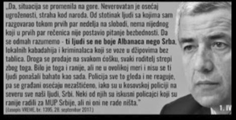 One of Oliver Ivanovic's last statement: I'm not afraid of Albanians, but of Serbs