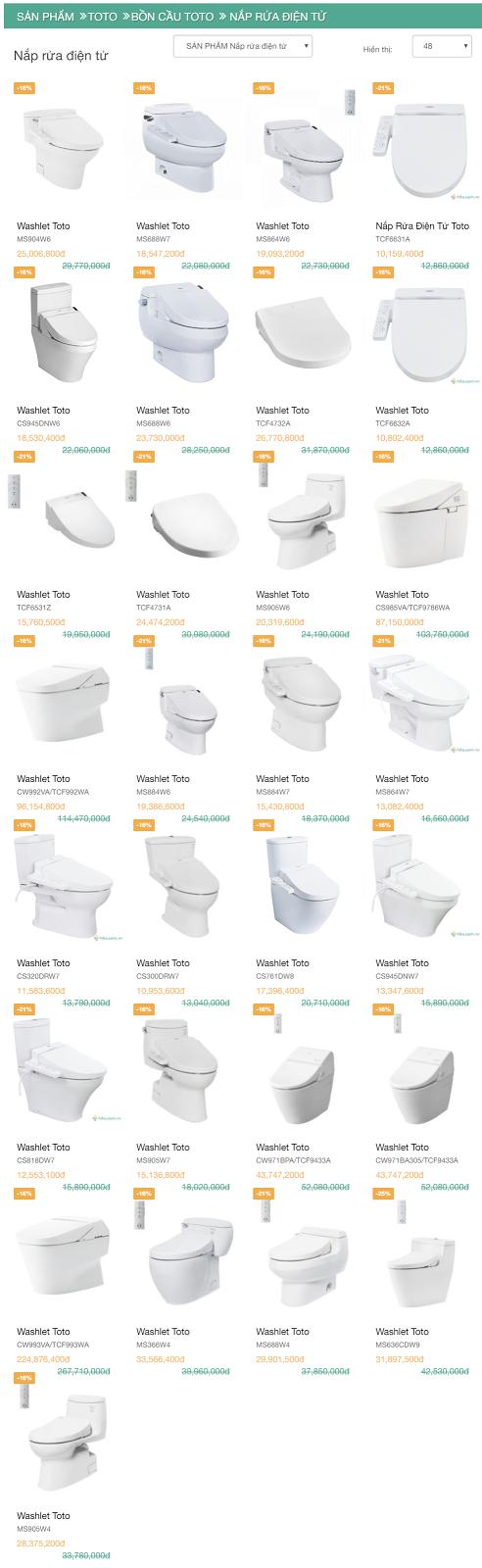 bảng giá catalogue showroom bồn cầu điện tử nắp rửa điện tử washlet Toto 2018 mới nhất