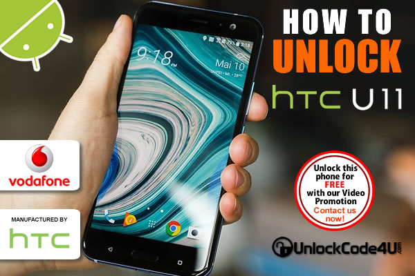 Factory Unlock Code HTC U11 from Vodafone