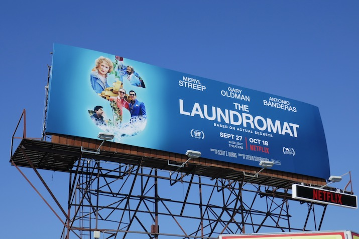 Laundromat movie billboard