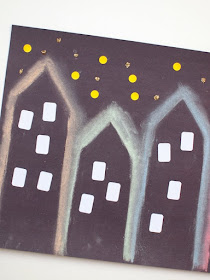 Spooky City Skylines- Easy Halloween chalk project for kids
