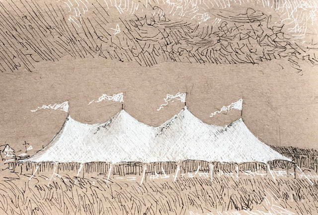 Pen and ink drawing of white wedding pavilion with four banners under a partly cloudy sky.