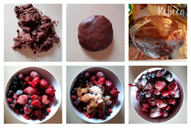 Receta de galette de chocolate y frutos rojos: reposo de la masa y preparación de la fruta