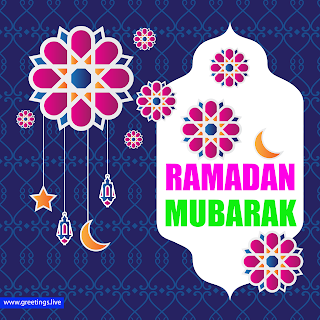 Creative Ramadan mubarak greetings. paper cut style flowers hanging crescent moon hanging stars images islamic pattern background