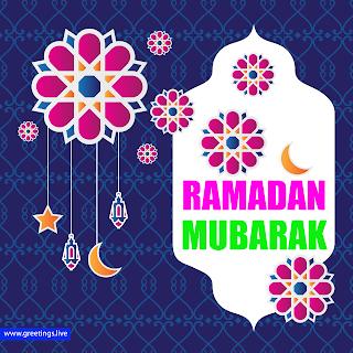 Creative Ramadan mubarak greetings. paper cut style flowers hanging crescent moon hanging stars images islamic pattern background