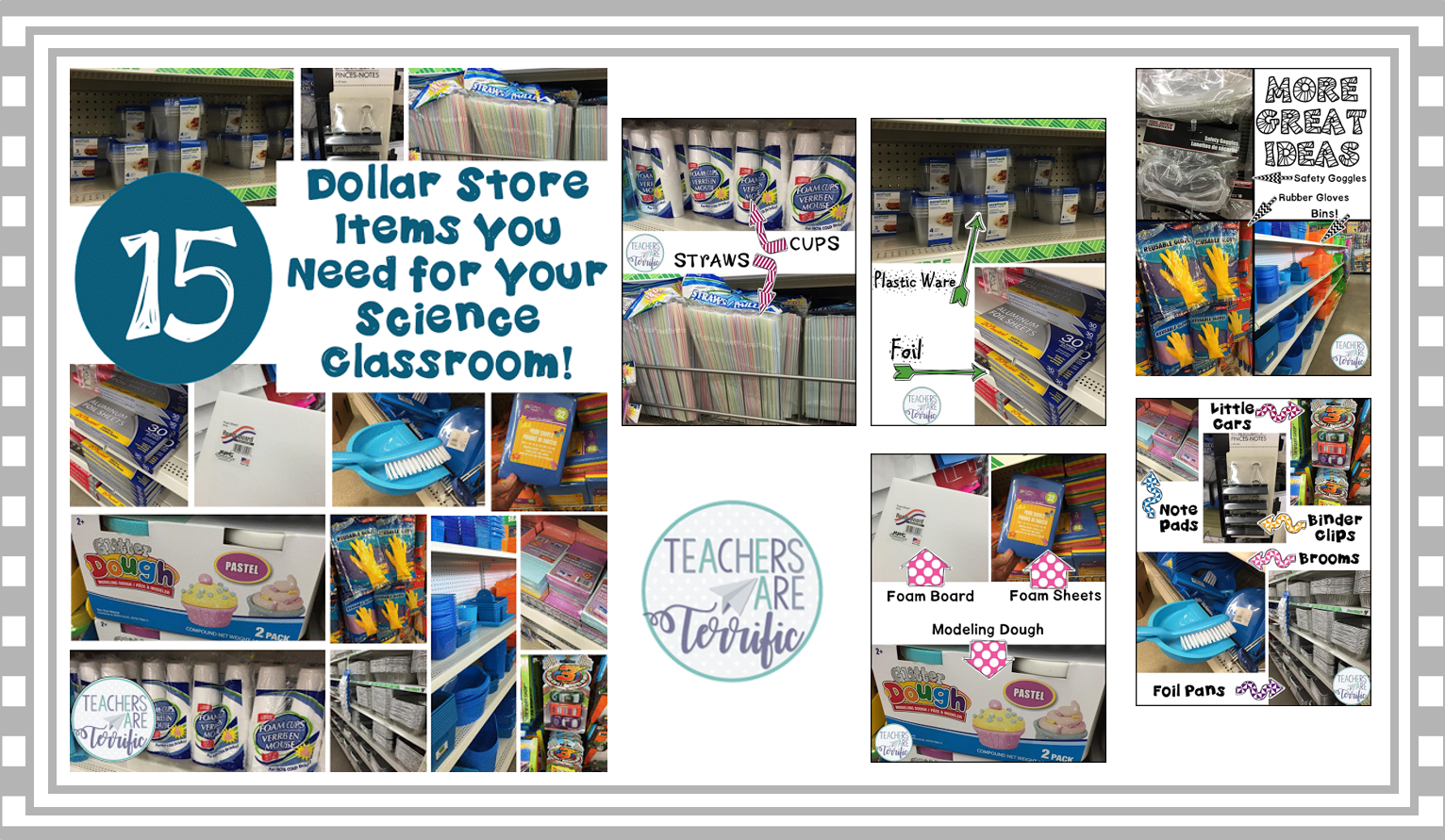 15 ideas for getting materials for your STEM class from the Dollar Tree. Included is advice about what NOT to buy there!