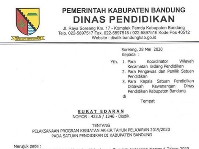 Jadwal Pembagian Raport dan Libur Sekolah di Kab. Bandung Bulan Juni - Juli 2020