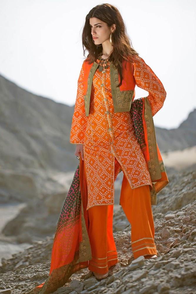 Gul ahmad unstitched lawn orange suit